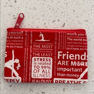 Lululemon red and white logo signature pouch